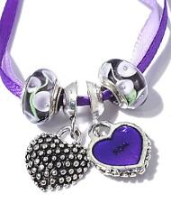 """Everlasting Violets"" Purple Murano Glass Bead Charm Set of 4"