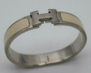 Hermes Clic Clac White Enamel H Logo Designer Bracelet