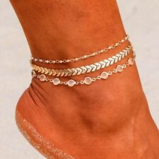 Crystal Gold Anklet Women Leg Jewelry Ankle Bracelet Metal Chain Arrow Sequin