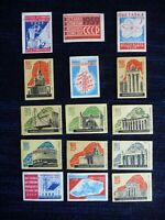 1959  Set of 15 Soviet Russian  USSR  Matchbox labels VDNH  Exhibition Moscow
