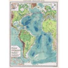 Antico Mappa 1906-Oceano Atlantico cavi e profondità oceaniche-harmsworth ATLAS