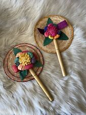 Woven Floral Hand Fan With Bamboo Holder