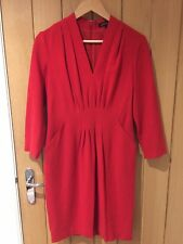 Jaeger Red Wool Dress With Pockets. Size 10.