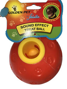Extra Large Hard Robust Aggressive Chew Plastic Sound Effect Dog Treat Ball Red