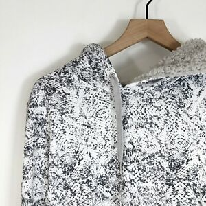 Ideology Pullover Hooded Sweatshirt L White Printed Sherpa Lined Hood Womens New