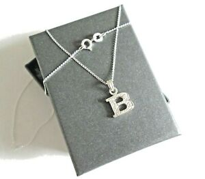Stirling silver Initial *B* Pendant Necklace  *in a gift box*