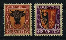 Schweiz 1918 Michel 143 - 144 Pro Juventute gestempelt