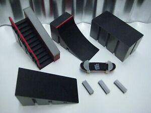 Tech Deck Fingerboard Starter Kit Stairs & Ramp Set + Toy Machine board + clips