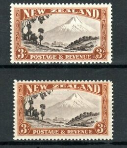 New Zealand 1935-36 3d Mount Egmont perf 13-14 x 13 1/2 and 13 1/2 x 14 MNH/MLH