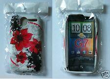 Blanco Rojo HTC Desire Flor Suave sólido TPU SILICONA impreso para G7 Funda GB