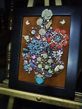 Jewelry Art Bouquet, Paired with a Black Estate Frame, signed by Artist