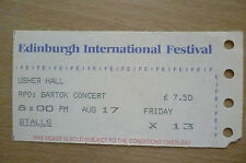CONCERT TICKET- Edinburgh International Festival Usher Hall, RPO: BARTOK CONCERT