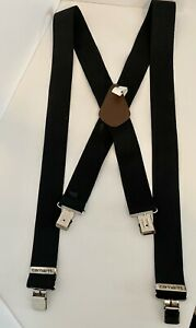 """Carhartt Utility Suspenders 52"""" Length Black 2"""" Wide W/ Adjustable Clips O/S"""