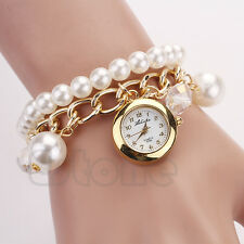 Women Faux Pearl Rhinestone Sling Chain Bracelet Round Dial Quartz Wrist Watch