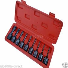 "9pc Torx T-Estrella Impacto Socket Bit Set 1/2"" unidad T20-T70 CR-V 75mm de largo"