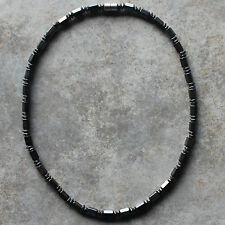 "Metallic Black Hematite Cylinder Beads necklace, 17.5"" in Length"