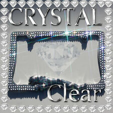 CRYSTAL  BLING JAGUAR 3D CHROME METAL LICENSE PLATE FRAME / CLEAR COLOR
