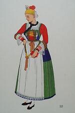 -2-5-10 Gravure costume de mariée de Pustertal, environ de Bruneck Autriche