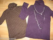 Caprice de Filles - 2 Sous-pulls violet imprimé et rayé marron - 12 ans - TBE