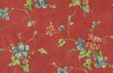 Floral Satin Vinyl Wallpaper Red Background with Multi Color Flowers Prepasted