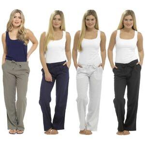 Ladies Linen Trousers Womens Premium Rib Back Summer Casual Pants Sizes 10 - 20