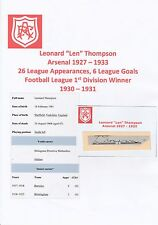 LEN THOMPSON ARSENAL 1927-1933 VERY RARE ORIGINAL HAND SIGNED CUTTING/CARD