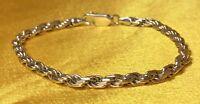 "Vintage 925 Sterling Silver 7 1/4"" Rope Bracelet Fine Jewelry"