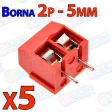 5x Borna 2 pines ROJO Conexion 5mm Clema 2p PCB enlazable tornillo terminal