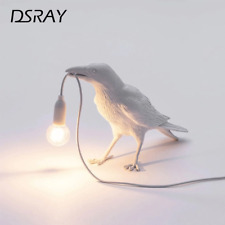 Bird Led Wall Lamp w/ Plug In Cord Living Room Bedside Lights Home Raven Decor