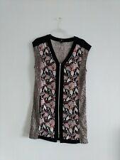 H&M Mixed Snake Print Exposed Zipper Front V-Neck Mini Dress Sz 4 S