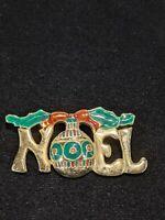 Vintage Gold Tone Red Green Enamel Noel Christmas Pin Brooch 10614