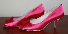 NIB Wittner Raspberry Satin Pence Open Toe Heels Size 41 Size 10