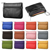 Unisex Leather Coin Case ID Credit Card Holder Zipper Wallet Keychain Mini Purse