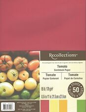 "New Recollections 8.5x11"" Cardstock Paper Tomato Red, Orange, Green 50 Sheets"