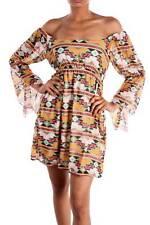 Candy Rose Aztec Dress Sz Small Knee Length Orange/Pink/Green/Black/White NWOT
