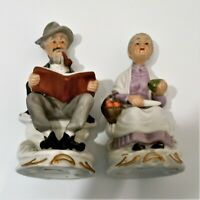 Old Man & Women Figurines Sitting On Bench's Reading and Peeling Vegetables EUC