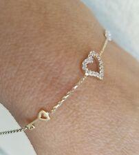Woman's 14k yellow Gold heart key infinity chain Bracelet 7.25-7.75 Inches Long