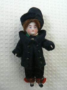 "Antique All Bisque Kestner German Man Doll Human Hair Wig Nicely Dressed 3.5"""