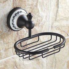 Bathroom Wall Mount ORB Black Ceramic Flower Bath Soap Holder Dish Shower Basket
