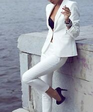 White Women Ladies Formal Business Office 2 Piece Jacket+Pants Suits New Tuxedos