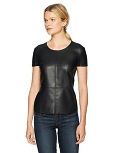 New Bailey 44 Hardy Leather Date Night Front Tee, Black, Women's XS