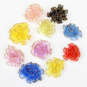 32mm 20Pcs Organza Flower Satin Ribbon Flower Appliques/Craft/Clothes/Wedding