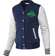 Adidas Damen College Winter Jacke Warm Leder Jacke Bomberjacke navy blau/weiss
