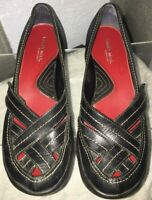AEROSOLES Black leather slip-ons, Women's US 7.5M. Slight wedged heel.Adjustable