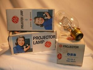 3 DRB - 1000W Bulbs Projector Lamps GE Slide film 115-200V NEW/OS/VTG USA BOXES