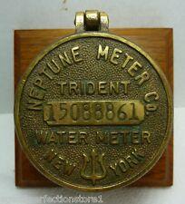 Old NEPTUNE Meter Co TRIDENT Water Meter NEW YORK plaque sign mounted cvr Brass