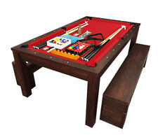 7Ft Pool Table Billiard Red m. Rich Red became a dinner table with benches