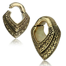 PAIR 0G (8mm) HINGED BRASS EAR WEIGHTS PLUGS TUNNELS STRETCH GAUGE HOOPS CLICKER