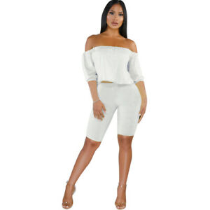 Women Fashion Half Sleeves Boat Neck Loose Top Solid Color Cropped Jumpsuit 2pcs