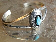 VINTAGE NATIVE AMERICAN BLUE TURQUOISE STAMPED 925 STERLING SILVER CUFF BRACELET